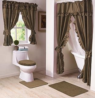 Black Double Swag Fabric Shower Curtain Set Valance: Amazon.ca ...