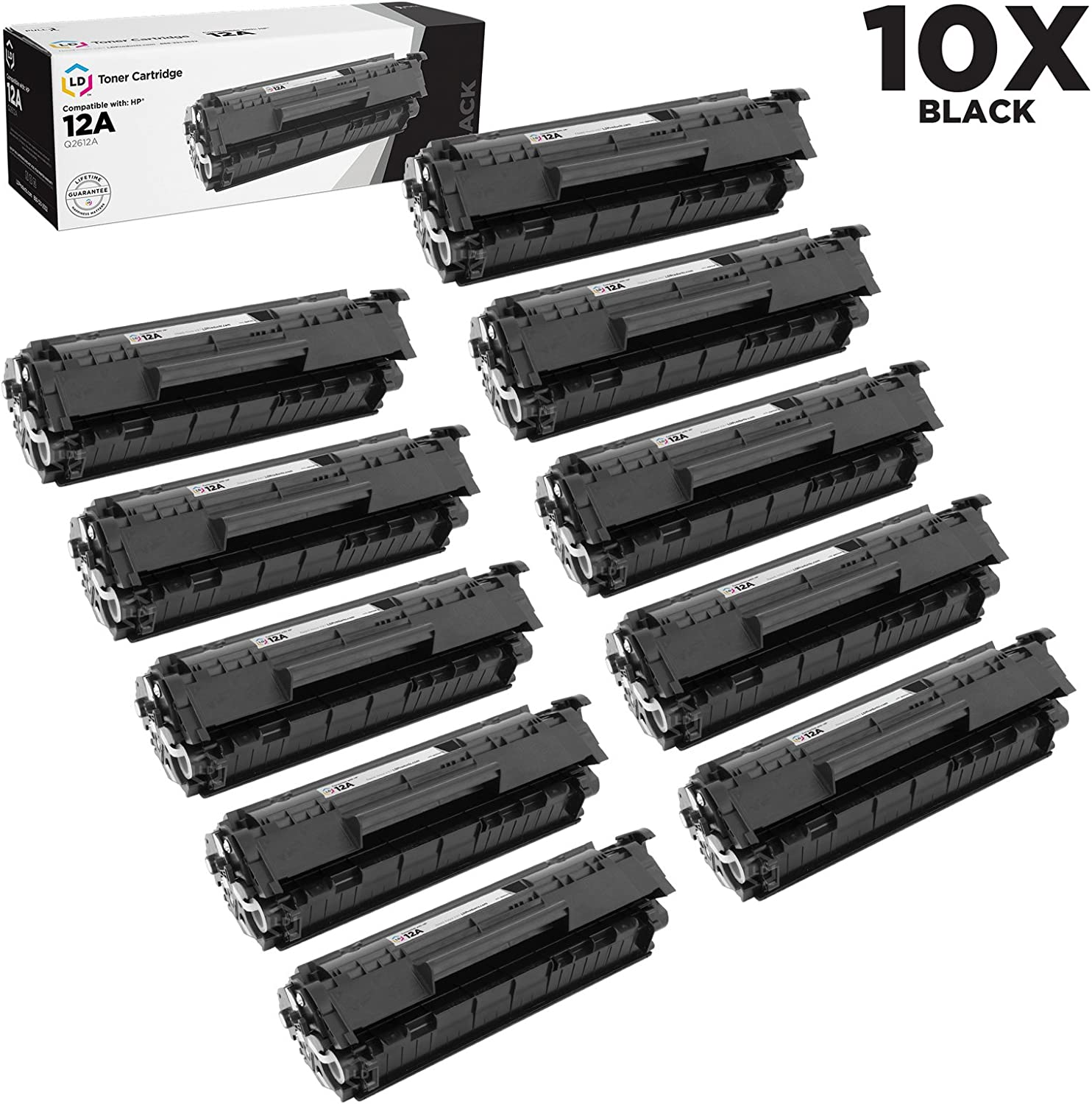 LD Compatible Toner Cartridge Replacement for HP 12A Q2612A (Black, 10-Pack)