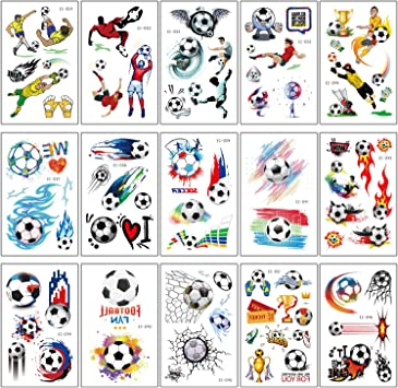 SZSMART Tatuajes Temporales Fútbol para Infantiles Falso Tatuaje ...