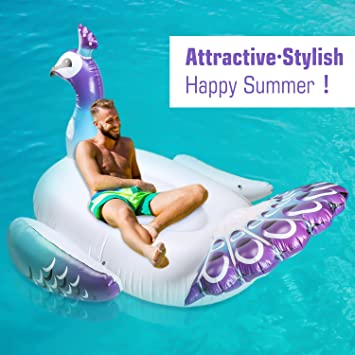Amazon.com: HeySplash Giant Inflatable Swimming, Pool Float Peacock Ride On Pool Raft Floating Lounger Seat Boat with Wings Handles For Kids & Adults ...