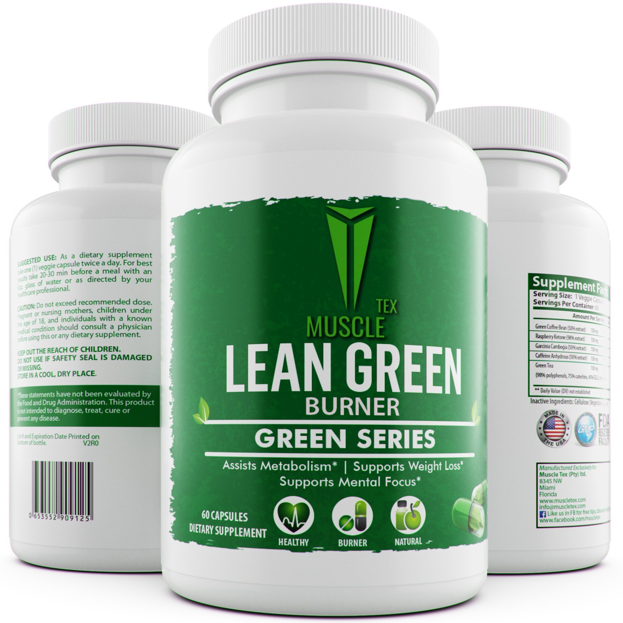 _MUSCLE TEX GREEN LEAN BURNER - GLUTEN FREE,VEGAN FRIENDLY, NON GMO,Garcinia Cambogia – Green Coffee Bean Extract – Raspberry Ketones – Green Tea Extract-Weight Loss For Men & Women by Muscle Tex