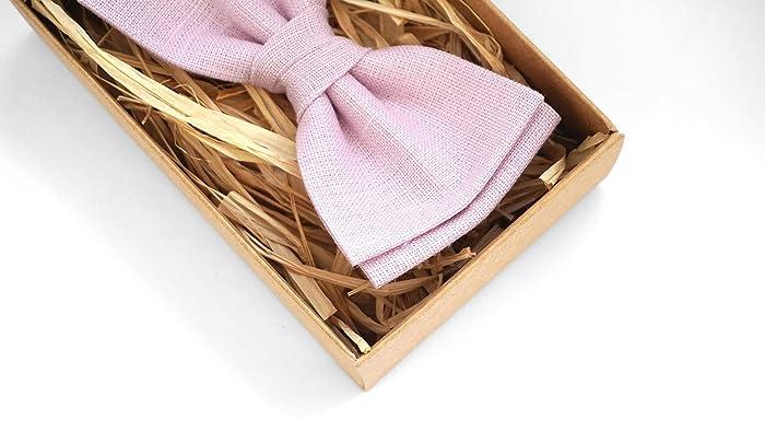f2a977bfeac7 Amazon.com: Light Pink mens wedding bow ties | Eco Friendly Linen bow ties  for men - boys bow ties, skinny tie, wedding ties: Handmade