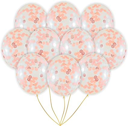 Rose Gold Age Number Confetti Latex Filled Helium Balloon Birthday Party Wedding
