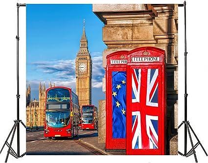 AOFOTO 20x10ft London Aerial Tower Bridge Night View Backdrop Famous Bridge City Lights Landscape Britain Historic Panoramic Street River Thames Photography Background Backcloth Photo Studio Props
