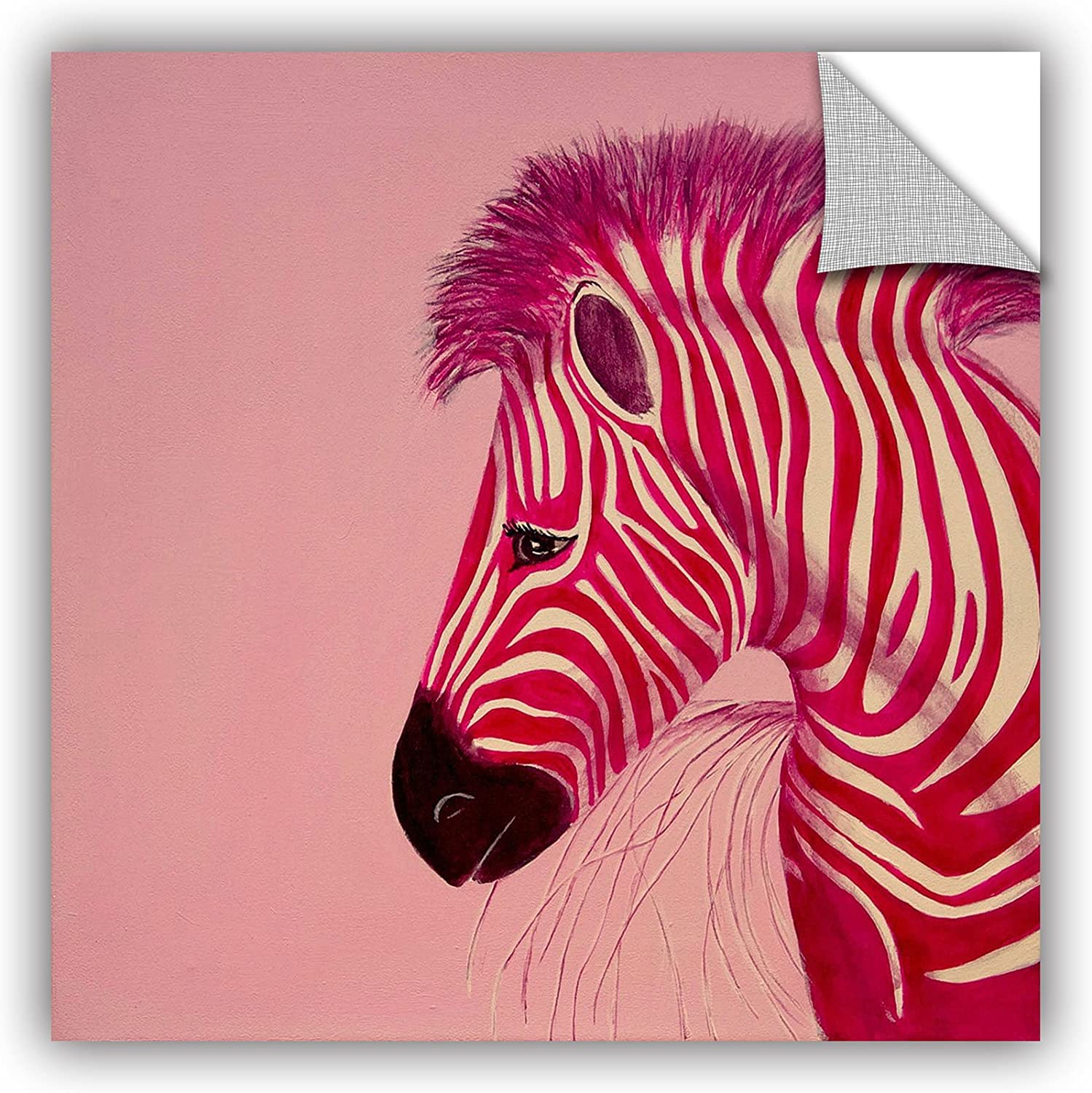 ArtWall Lindsey Janich Pink Zebra Appeelz Removable Graphic Wall Art 14 by 14