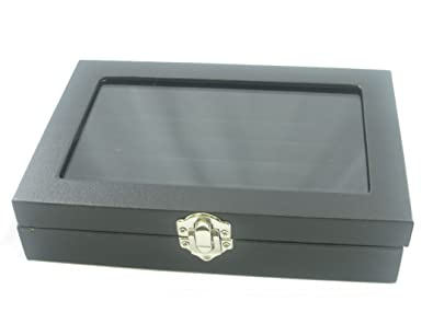 Small Glass Top Lid Black Velvet Jewelry Display Box for Rings 5