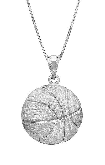 Honolulu Jewelry Company Plata de Ley Baloncesto Collar Colgante ...