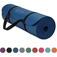 """Gaiam Essentials Thick Yoga Mat Fitness & Exercise Mat with Easy-Cinch Yoga Mat Carrier Strap (72""""L x 24""""W x 2/5 Inch Thick), Mat, 05-63320, Navy, 10mm"""