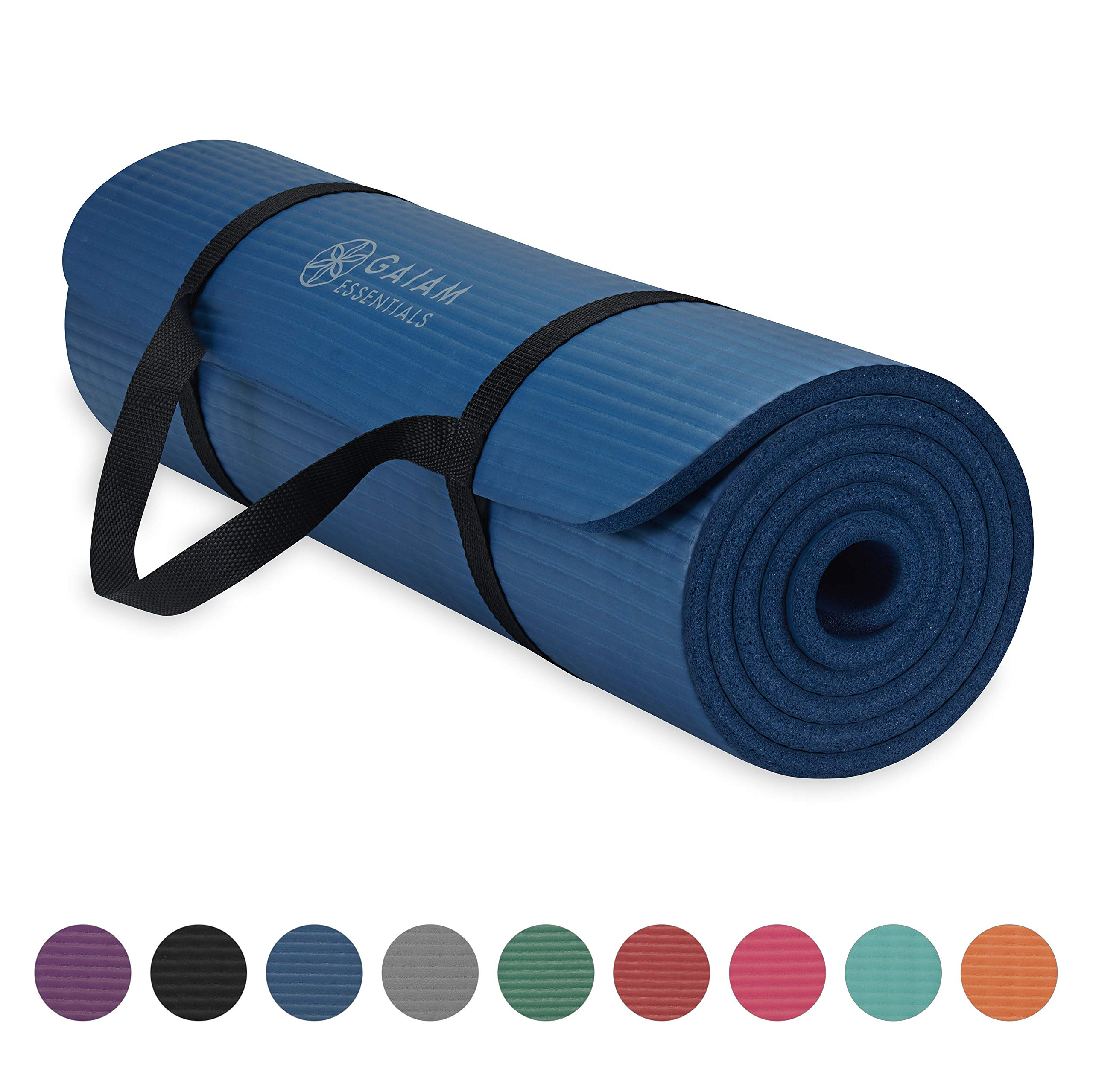 Gaiam Essentials Thick Yoga Mat Fitness & Exercise Mat with Easy-Cinch Yoga Mat Carrier Strap, Navy, 72''L x 24''W x 2/5 Inch Thick