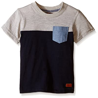 7 For All Mankind Boys' Short Sleeve Crew Neck Slub Jersey Color Block Pocket T-Shirt