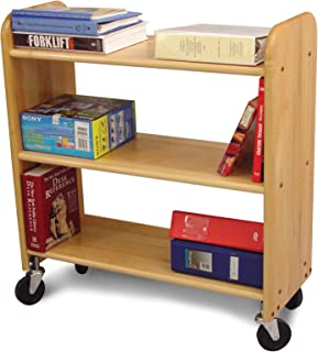 product image for Catskill Craftsmen Library Book Truck with Flat Shelves, Natural Birch