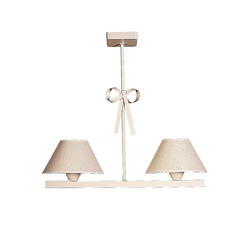 Lámpara infantil de techo de 2 luces color beige con detalle de lazos y pantallas de tela [Clase de eficiencia energética A++] Mercalampara Iluminación S.L. 1107B-L CP