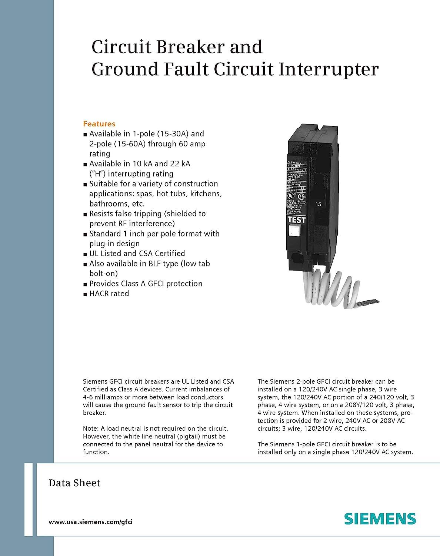 Siemens Qf250 50 Amp 2 Pole 240 Volt Ground Fault Circuit Interrupter Discontinued By Manufacturer Amazon Com