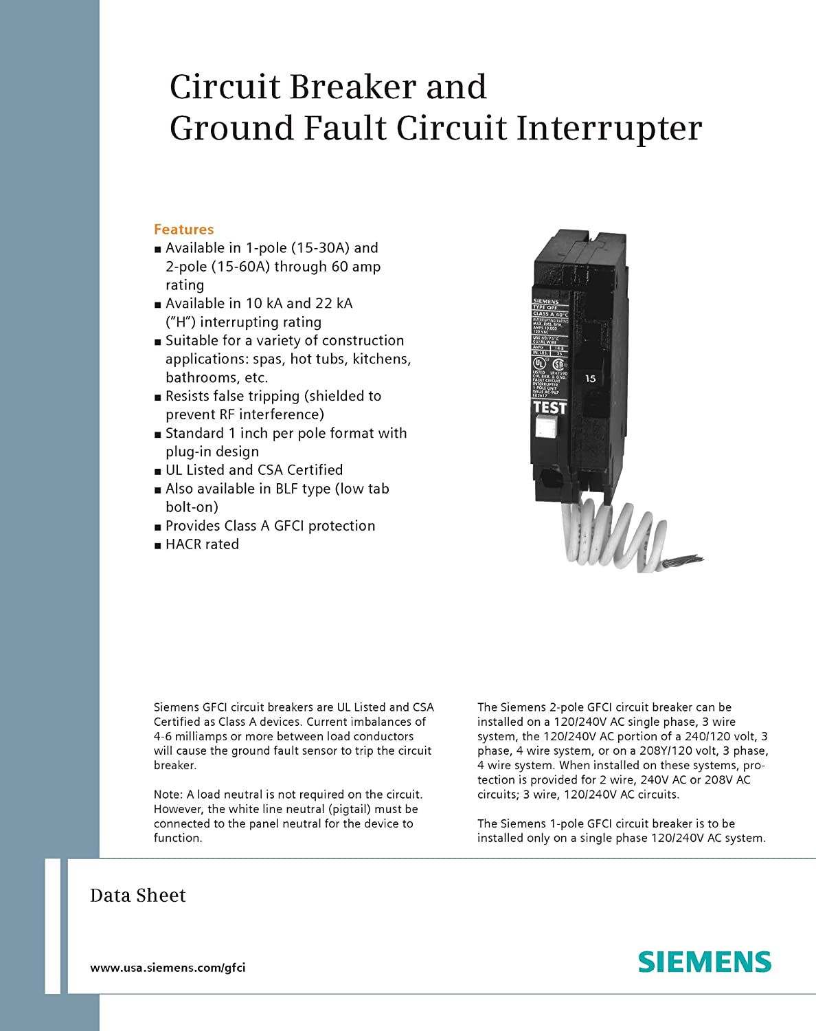 Siemens Qf120 20 Amp 1 Pole 120 Volt Ground Fault Circuit Gfci Wiring Diagram For Dummy S Interrupter Breakers