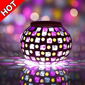Senbowe Solar Powered Mosaic Glass Ball LED Garden Lights Color