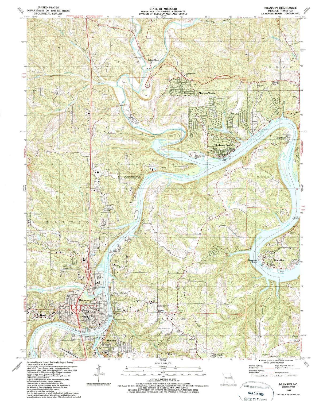 Amazoncom Yellowmaps Branson Mo Topo Map 124000 Scale 75 X - Branson-missouri-on-us-map