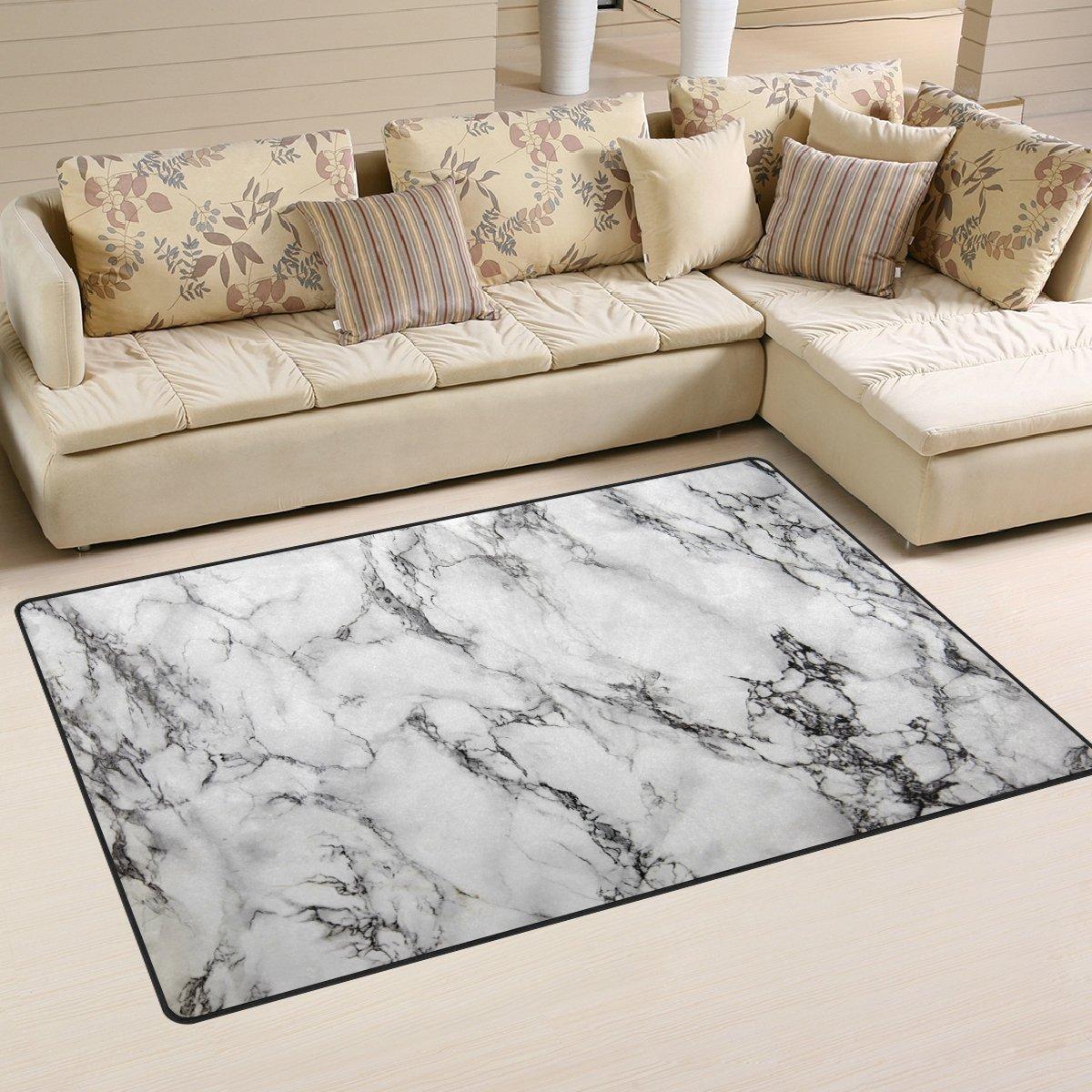 WOZO Hipster Gray Marble Area Rug Rugs Non-Slip Floor Mat Doormats Living Room Bedroom 60 x 39 inches g2489175p146c161s241