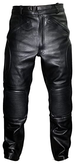 db01513d7a5d Limo Padded Biker Motorcycle Leather Trousers Pants: Amazon.co.uk ...