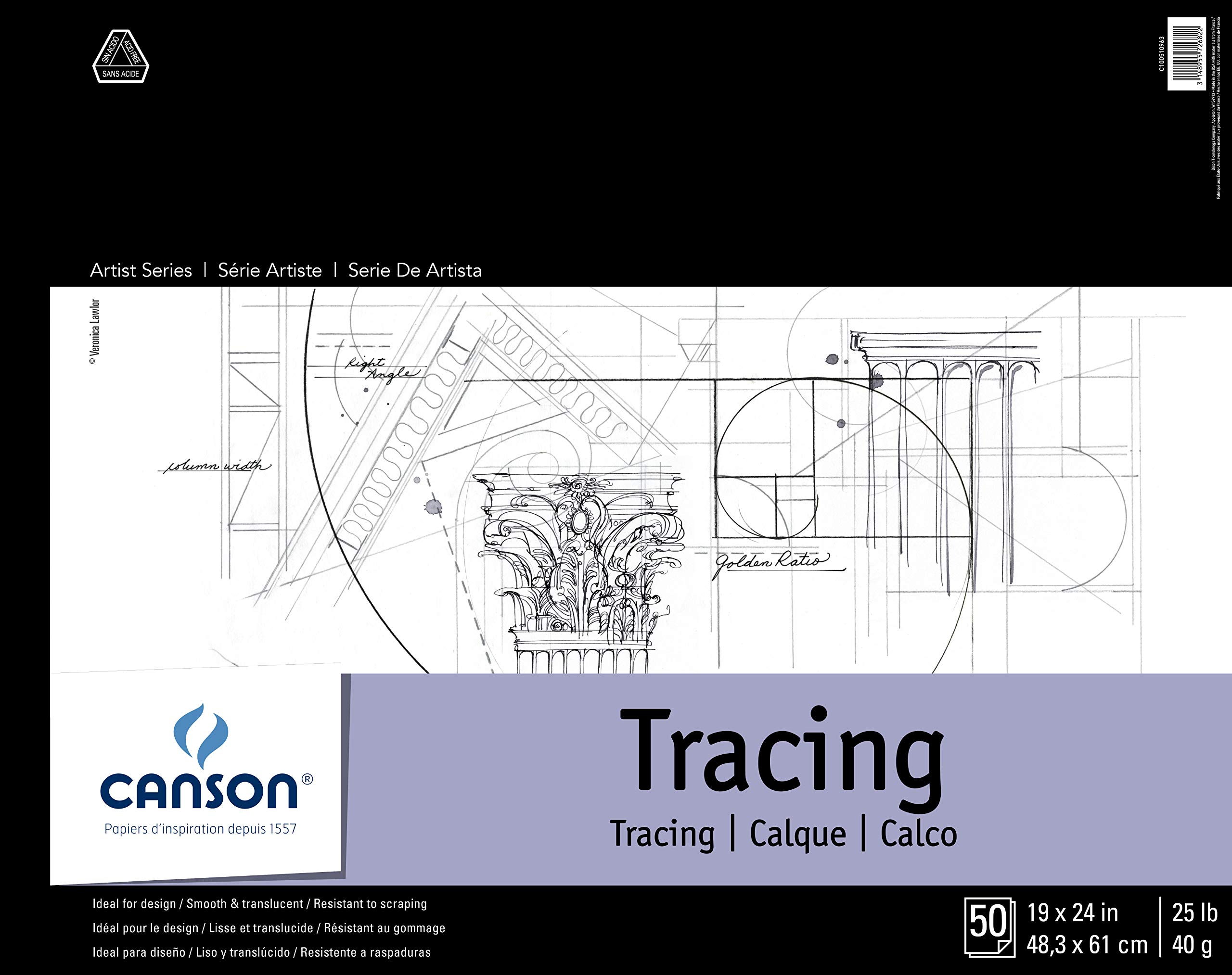 Canson 702324 Canson Tracing Paper Pad, 19 X 24-Inch, 50 Sheets by Canson