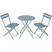 Vanage Bistro Set de Balcon en Gris–Table de Balcon et Balcon chaises sont Pliable
