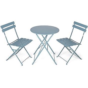 Vanage - Table Bistro avec chaises - Table et chaises pliantes - Salon de  jardin 3 pièces - Parfait pour Balcon, Terasse et Jardin - Design ...