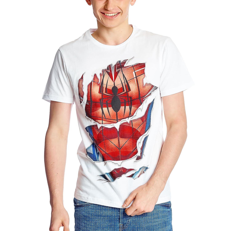 Spider-Man Camiseta de Hombre Suit Marvel Blanco algodón: Amazon ...