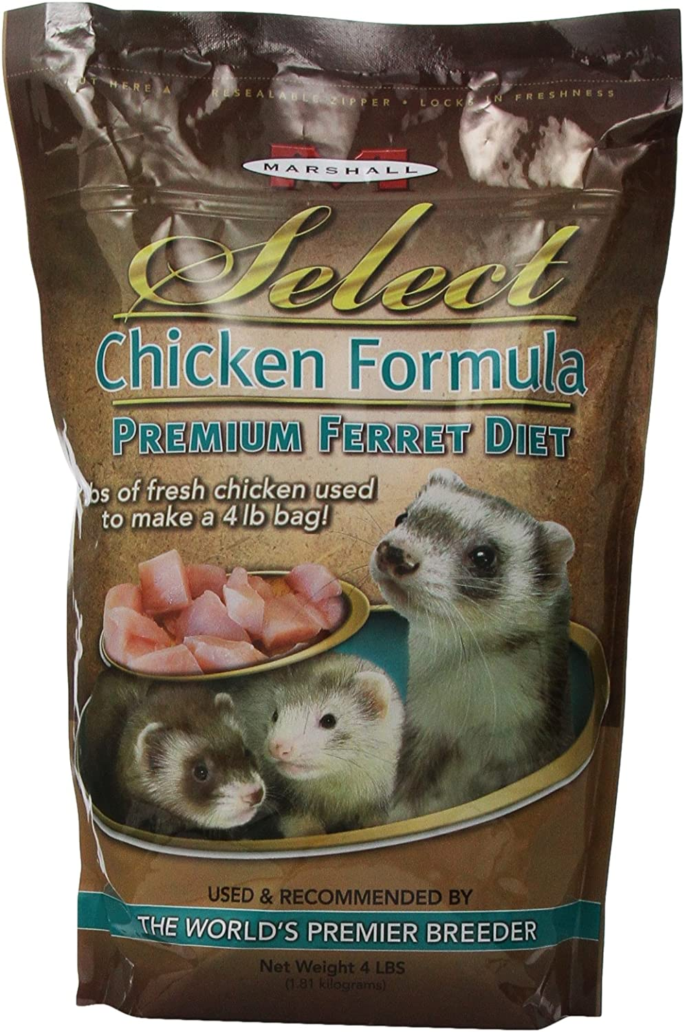Marshall Pet Marshall Select Chicken Ferret Diet, 4-Pound Bag