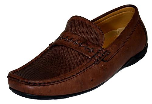 1c64be1bb9e Faranzi Men s F41222 Brown Slip-on Driving Shoe sy ...