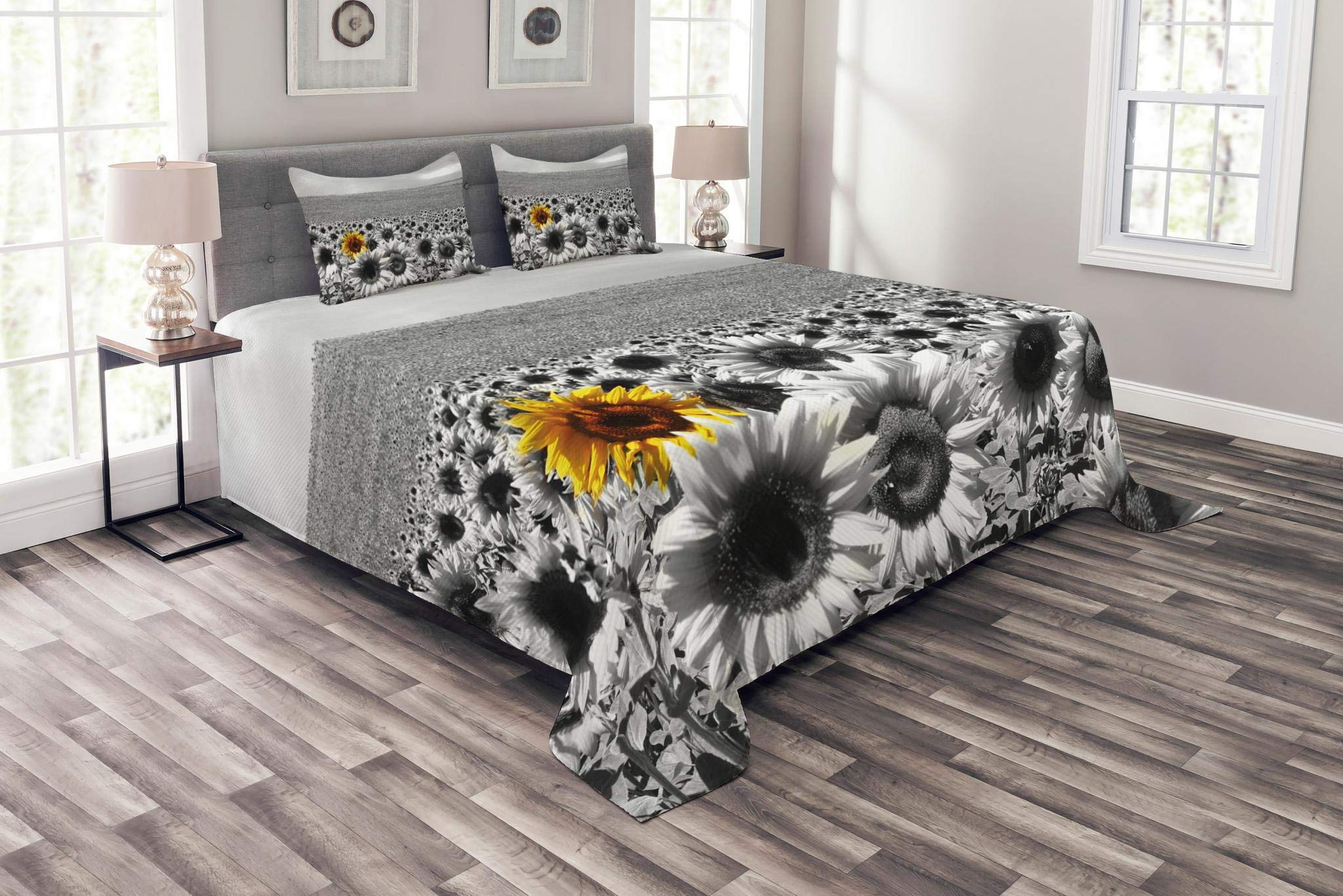 Lunarable Modern Coverlet Set Queen Size, Sunflower Field Black and White with a Single Yellow Flower Spring Landscape Individuality, Decorative Quilted 3 Piece Bedspread Set with 2 Pillow Shams, Grey