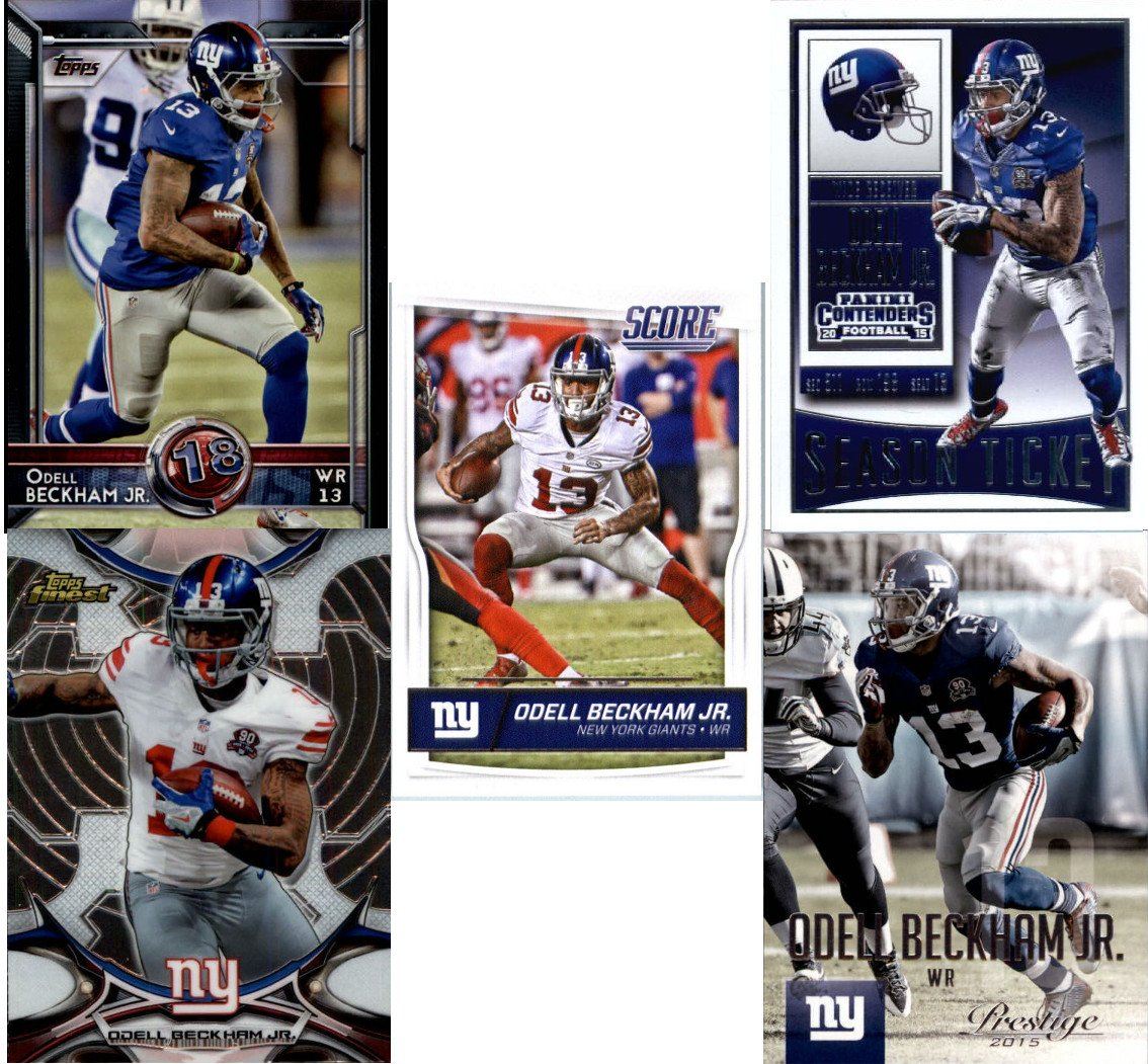 Odell Beckham Jr. (5) Assorted Football Cards Bundle New York Giants Trading Cards