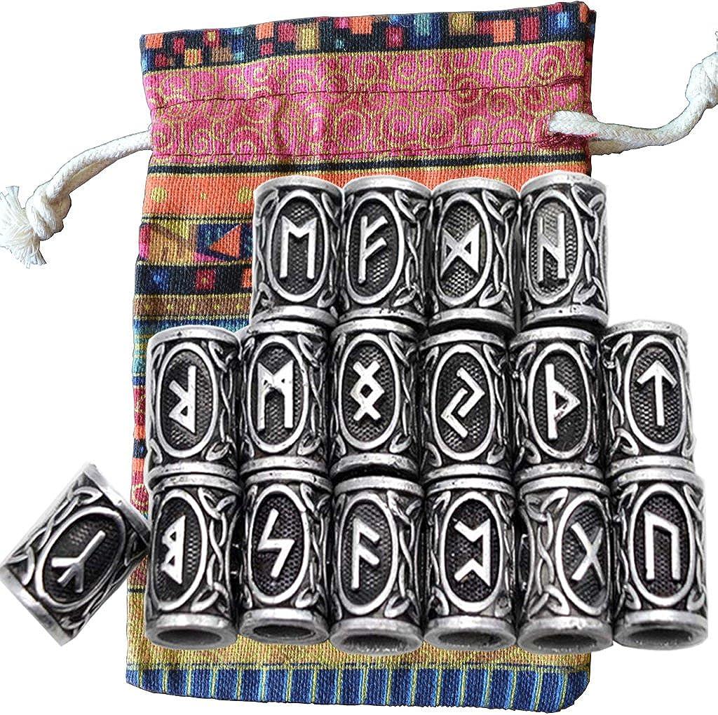 24pcs/Kit Vikings nórdico runas cuentas para Barbas pelo paracaídas colgantes y pulseras DIY