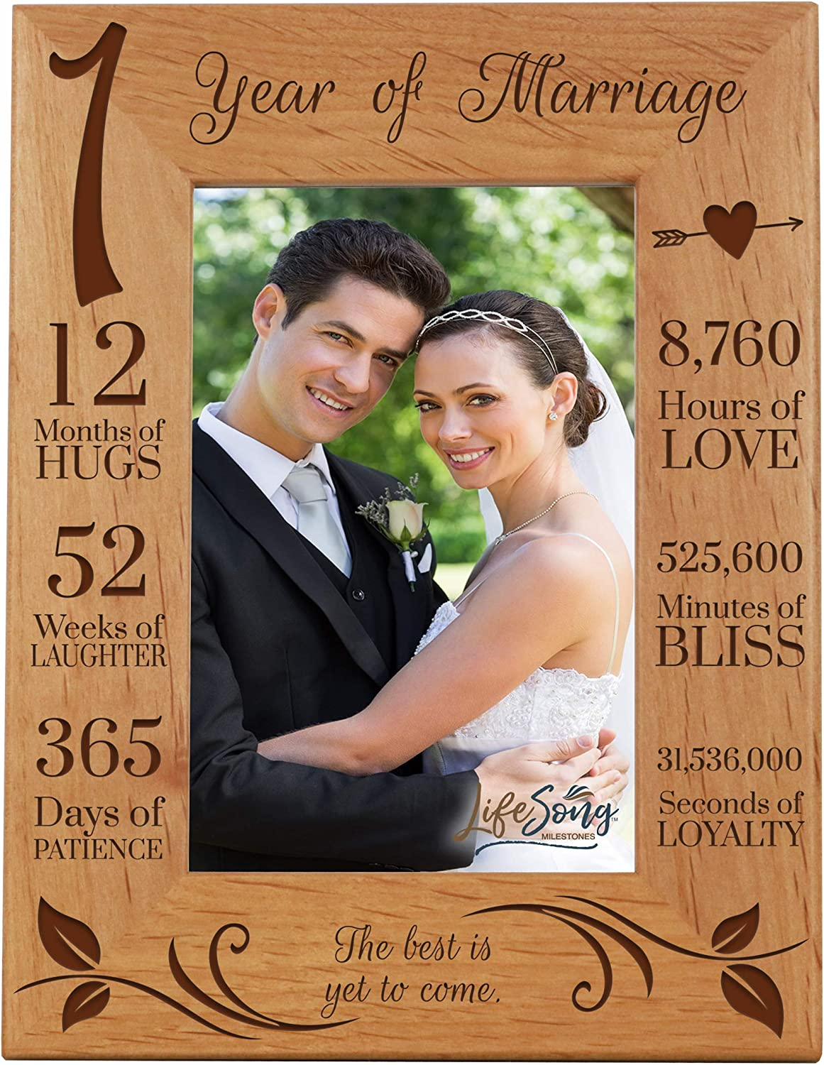 LifeSong Milestones 1st Anniversary Picture Frame 1 Year of Marriage - One Year Wedding Keepsake Gift for Parents Husband Wife him her - The Best is Yet to Come (7.5x9.5)