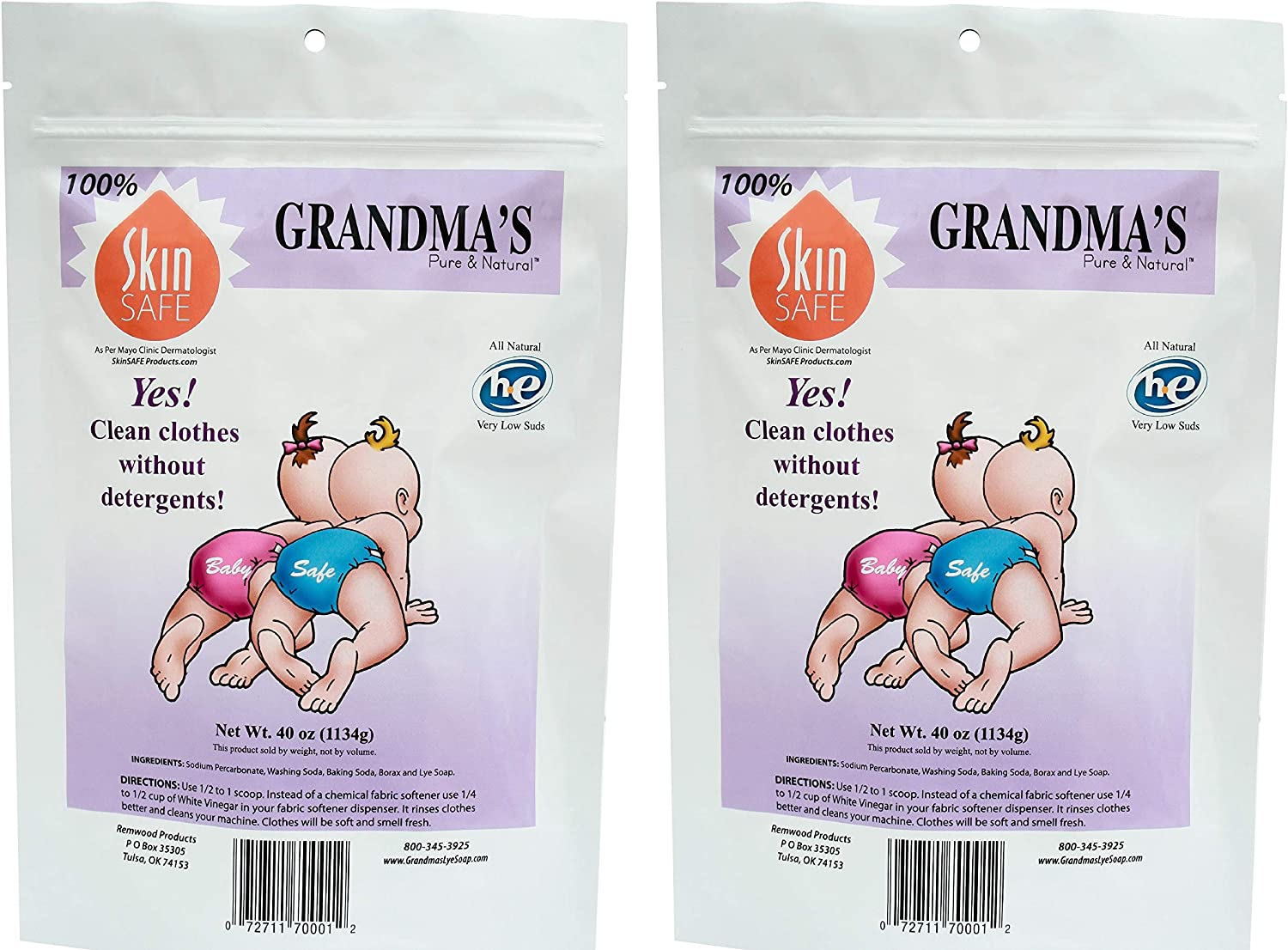 Grandmas Pure & Natural All Natural Laundry Soap, White, Unscented, 40 Ounce (Pack of 2)