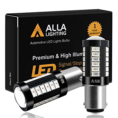 Alla Lighting 2800lm BA15S 1156 Red Strobe Flashing LED Bulbs Super Bright BA15S 7506 1156 LED Bulb High Power 5730 33-SMD LED 1156 Bulb for Cars Trucks Motorcycle Turn Signal Brake Stop Tail Lights: Automotive