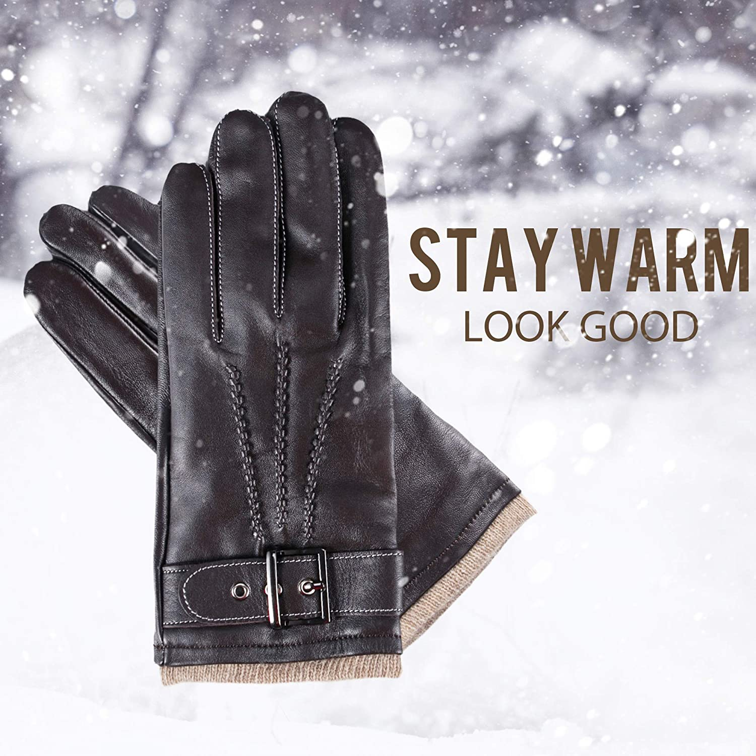 YISEVEN Mens Winter Cashmere Lined Touchscreen Lambskin Leather Gloves