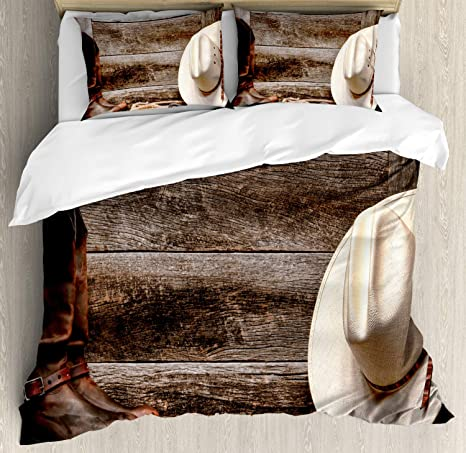 Western Quilted Coverlet /& Pillow Shams Set America Retro Rodeo Print