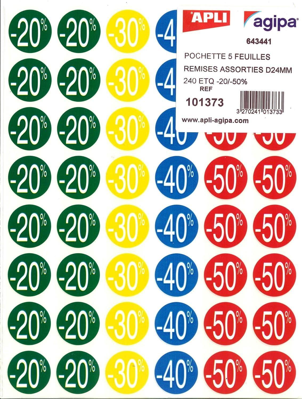 APLI 101373 Etiquetas de Descuentos forma Circular Adhesivo Permanente, Multicolor, 101373 x 24 mm x 5H