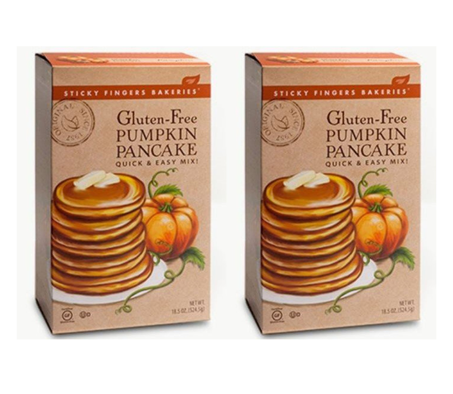 Gluten-Free Pumpkin Pancake Mix 18.5 oz. Box - Pack Of 2 (Pumpkin, Pack Of 2) by Sticky Fingers Bakeries
