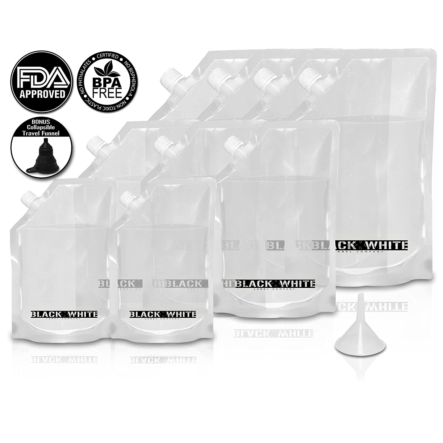 Amazon 9 Black & White Label Premium Plastic Flasks Liquor