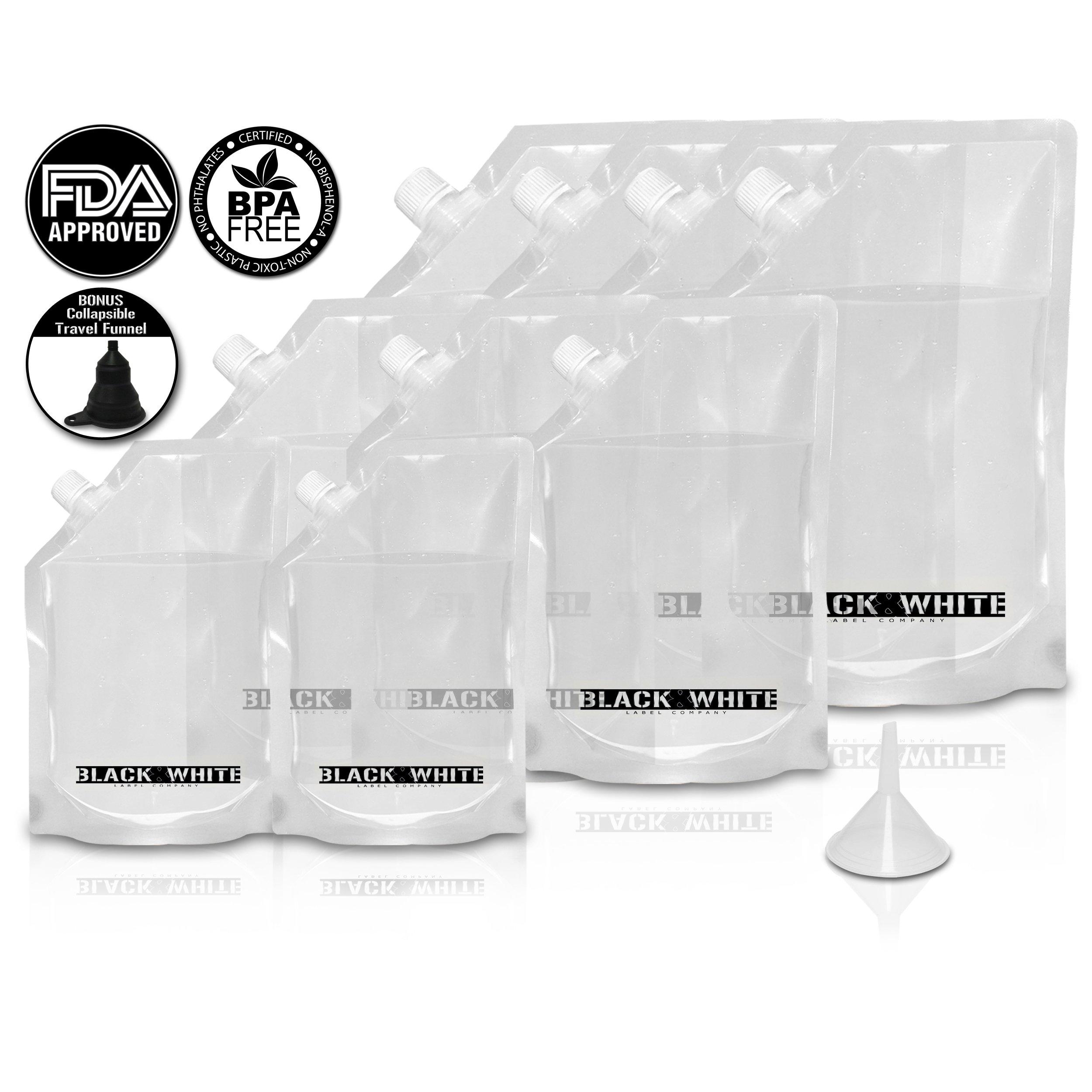(9) Black & White Label Premium Plastic Flasks - Liquor Rum Runner Flask Cruise Kit Sneak Alcohol Drink Wine Pouch Bag Set Heavy Duty Reusable Concealable Flasks For Booze & Cocktails 4x32oz+3x16oz+2x8oz + Funnel