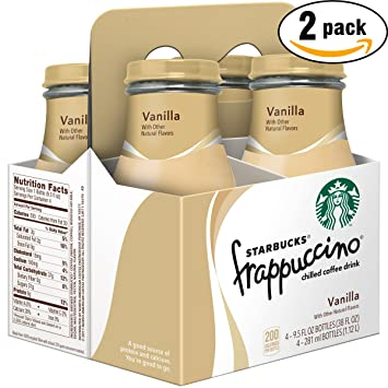 Starbucks Frappuccino Vanilla Chilled Coffee Drink, 9.5 Glass Bottle (Pack of 4 x2,