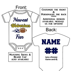 Custom-Made Personalized Newest Wolverines Fan Bodysuit Football Jersey - Great Baby Announcement Reveal or Gift