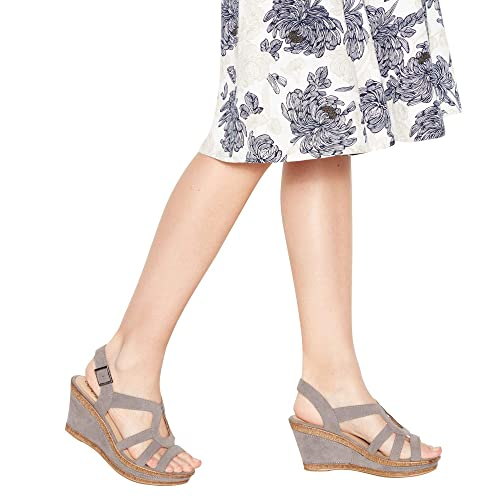7fdf7a40a Grey Suedette  Mod Cross  Wedge Heel Wide and Comfort Fit Sandals 3. Roll  over image to zoom in. Good for the Sole