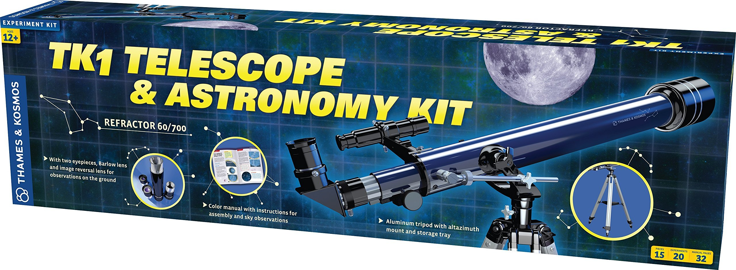 Thames & Kosmos TK1 Telescope Plus Astronomy Educational Science Kit | Refractor 60/700 | Aluminum Full Size Tripod with Altazimuth Mount | 35X, 70X, 140X Power | Parents' Choice Recommended by Thames & Kosmos