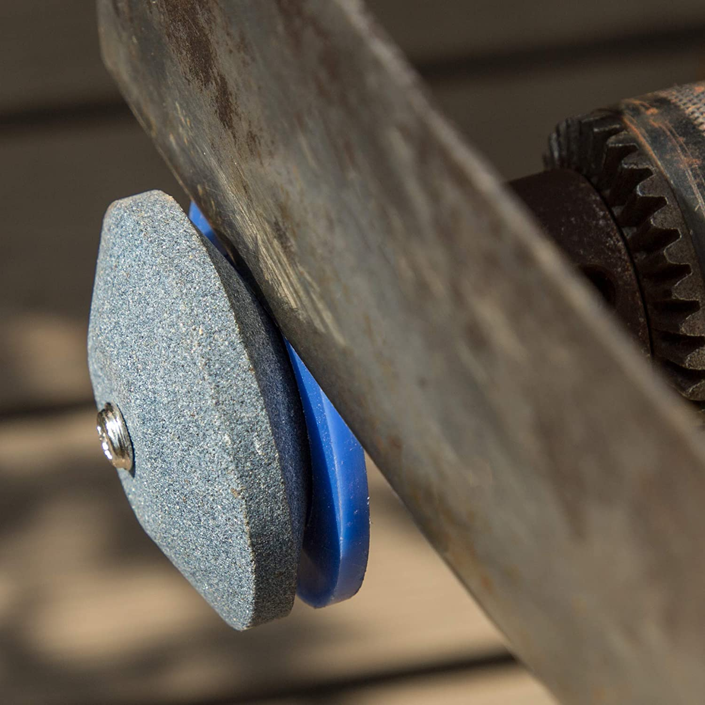 4 Pcs Lawn Mower Blade Sharpener,Sonku Universal Sharpener Grinder Wheel Stone for Power Drill Hand Drill with 1 Pcs Sharpener Balancer for Garden,Courtyard Kitchen-Blue
