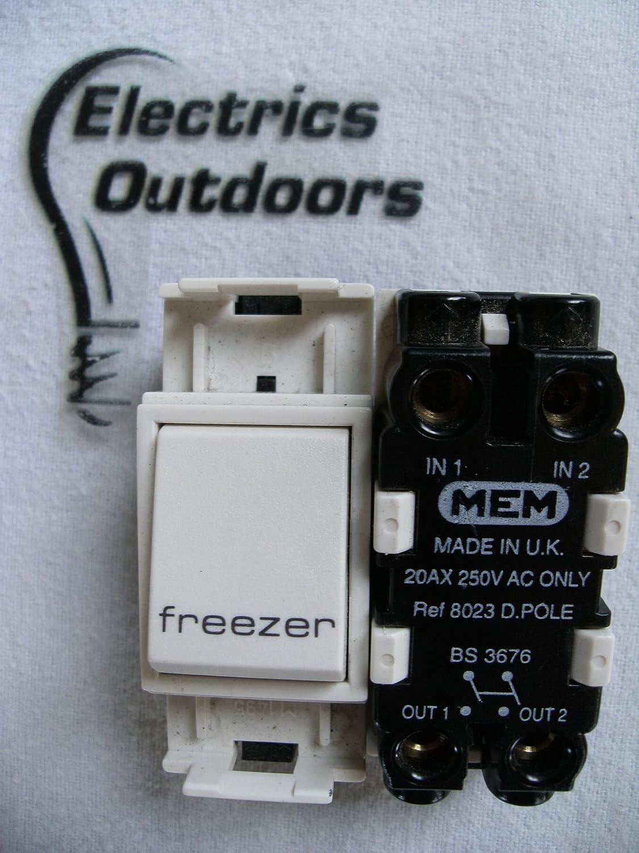 MEM GRID SWITCH 20 AMP DOUBLE 2 POLE 250V FREEZER: Amazon.co.uk ...