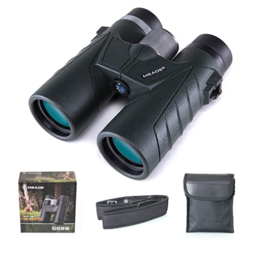 Meade 10×42 Binoculars for Adults, Compact HD Professional Waterproof Binoculars for Bird Watching Travel Stargazing Hunting Concerts Sports-BAK7 Prism FMC Lens-Army Green