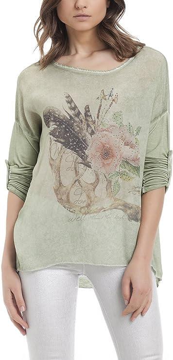 Laura Moretti - Camisa asimétrica con Estampado Floral ...