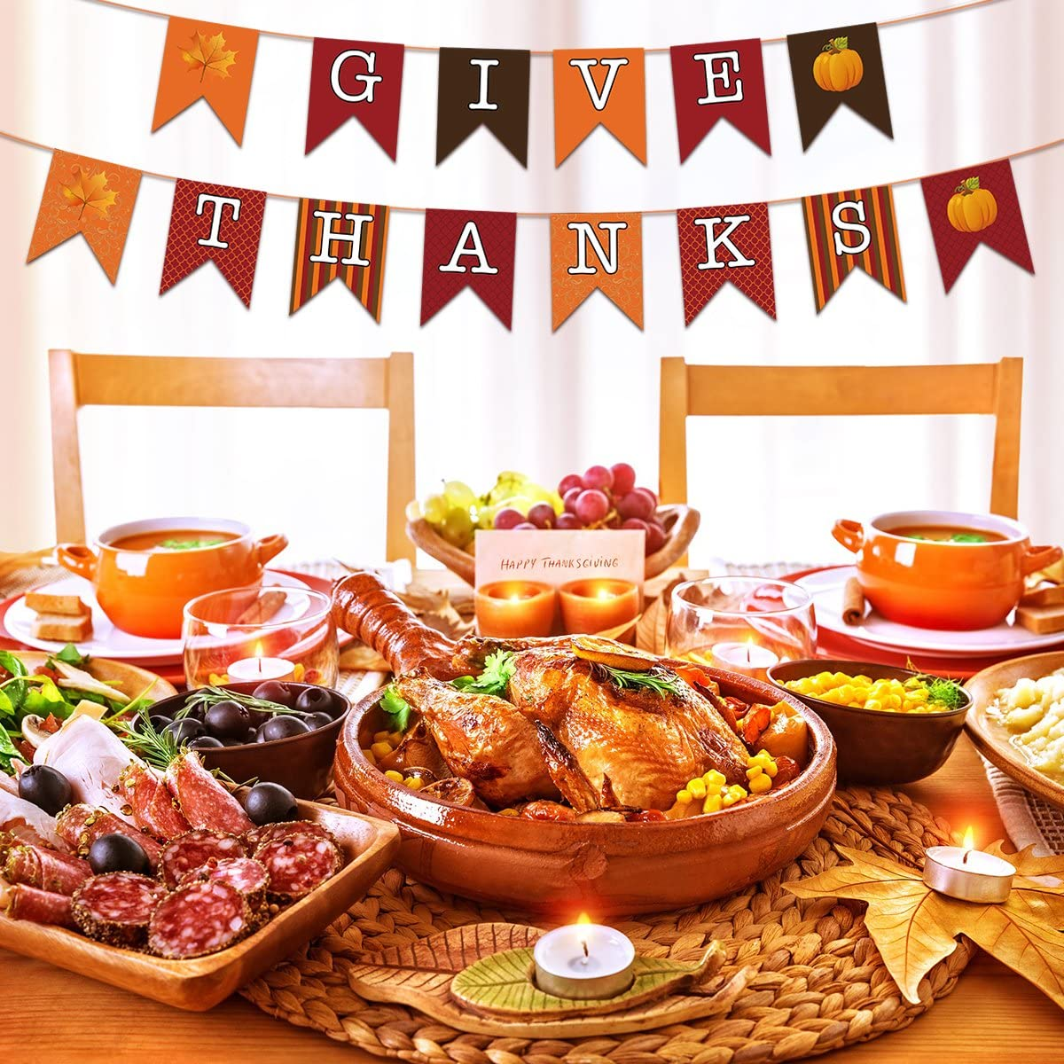 Happy Thanksgiving Banner Thanksgiving Day Decorations Paper Banner Swallowtail Flag Hanging Garland