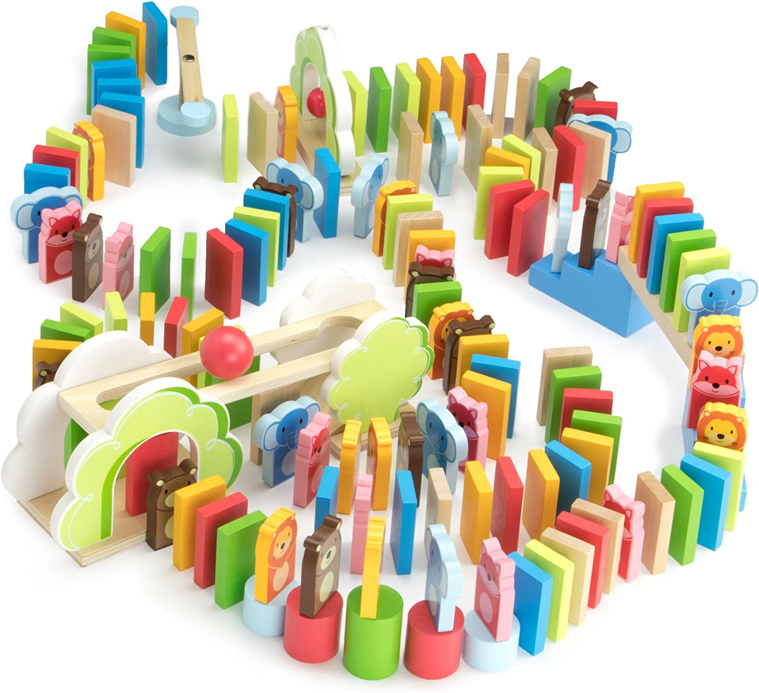 Imagination Generation Zoo Animals Domino Rally Adventure Kids Playset, with 4 Animal Shapes, 5 Stunts, & Carrying Case (144 Pieces)